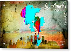 Los Angeles Map And Skyline Acrylic Print