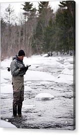 Man Winter Fly Fishing Acrylic Print