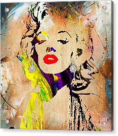 Marilyn Monroe Diamond Earring Collection Acrylic Print by Marvin Blaine