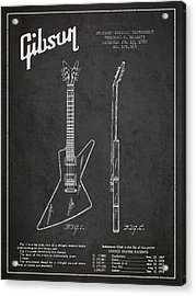 Mccarty Gibson Electrical Guitar Patent Drawing From 1958 - Dark Acrylic Print