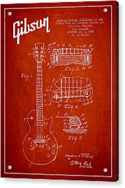 Mccarty Gibson Les Paul Guitar Patent Drawing From 1955 - Red Acrylic Print by Aged Pixel