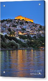 Molyvos Village During Dusk Time Acrylic Print by George Atsametakis
