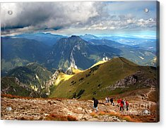Mountains Stormy Landscape Acrylic Print by Michal Bednarek