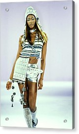 Naomi Campbell On A Runway For Anna Sui Acrylic Print by Guy Marineau