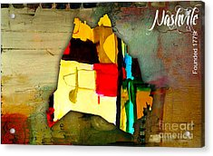 Nashville Map Watercolor Acrylic Print by Marvin Blaine