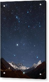 Night Sky Over The Himalayas Acrylic Print by Babak Tafreshi