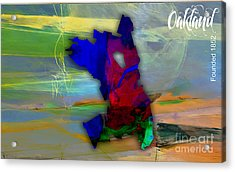 Oakland Map And Skyline Watercolor Acrylic Print by Marvin Blaine