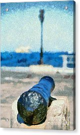 Old Cannon In Aegina Port Acrylic Print by George Atsametakis