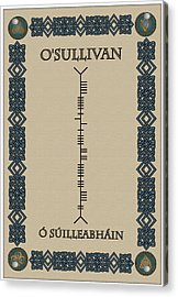 Acrylic Print featuring the digital art O'sullivan Written In Ogham by Ireland Calling