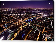 Paris Panorama France At Night Acrylic Print by Michal Bednarek