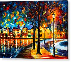 Park By The River Acrylic Print by Leonid Afremov