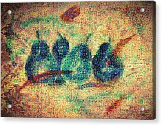 Acrylic Print featuring the painting 4 Pears Mosaic by Paula Ayers