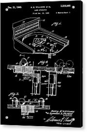 Pinball Machine Patent 1939 - Black Acrylic Print by Stephen Younts