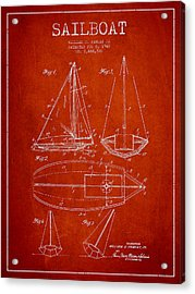 Sailboat Patent Drawing From 1948 Acrylic Print
