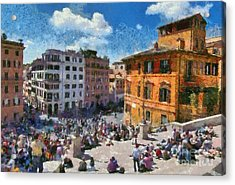 Spanish Steps At Piazza Di Spagna Acrylic Print by George Atsametakis