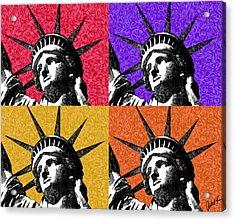 4 Starry Night Statue Of Liberty Print Acrylic Print