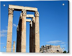 Temple Of Olympian Zeus And Acropolis In Athens Acrylic Print by George Atsametakis
