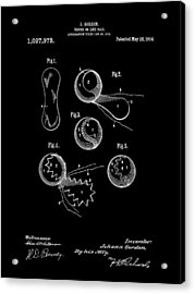 Tennis Ball Patent 1914 - Black Acrylic Print by Stephen Younts