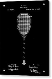 Tennis Racket Patent 1887 - Black Acrylic Print by Stephen Younts