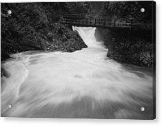 The Soteska Vintgar Gorge In Black And White Acrylic Print