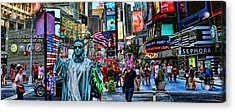 Times Square On A Tuesday Acrylic Print by Lee Dos Santos