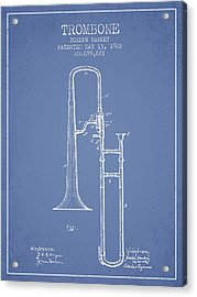 Trombone Patent From 1902 - Light Blue Acrylic Print by Aged Pixel