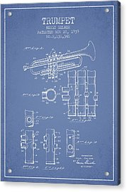 Trumpet Patent From 1939 - Light Blue Acrylic Print
