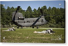 U.s. Soldiers Provide Security Acrylic Print by Stocktrek Images