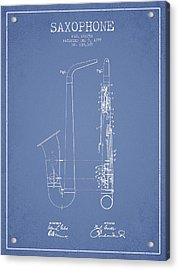 Saxophone Patent Drawing From 1899 - Light Blue Acrylic Print by Aged Pixel