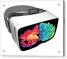 Virtual Reality Headset In Science Acrylic Print by Alfred Pasieka/science Photo Library