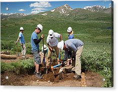 Volunteers Maintaining Hiking Trail Acrylic Print by Jim West
