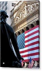 Wall Street Flag Acrylic Print by Brian Jannsen