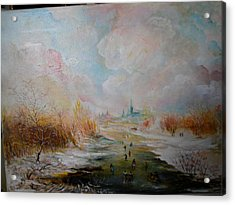 Acrylic Print featuring the painting Winter Landscape by Egidio Graziani