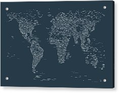 World Map Of Cities Acrylic Print by Michael Tompsett