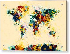World Map Paint Splashes Acrylic Print