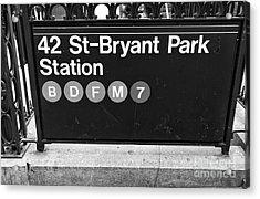 42nd St Bryant Park Station Mono Acrylic Print by John Rizzuto