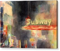 42nd Street Subway Watercolor Painting Of Nyc Acrylic Print by Beverly Brown