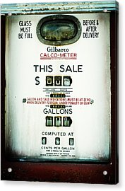 45 Cents Per Gallon Acrylic Print
