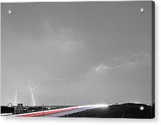 47 Street Lightning Storm Light Trails View Bwsc Acrylic Print by James BO  Insogna