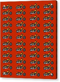 48 Harlies On Dark Red Acrylic Print by Asbjorn Lonvig