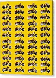48 Harlies On Dark Yellow Acrylic Print by Asbjorn Lonvig