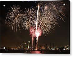 Acrylic Print featuring the photograph 4th Of July Fireworks Over Downtown San Diego by Nathan Rupert