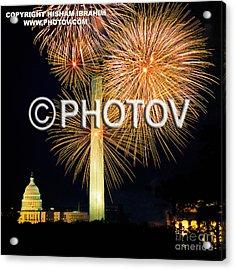 4th Of July Fireworks Over Washington Dc Acrylic Print by Hisham Ibrahim