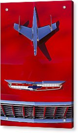 1955 Chevrolet Belair Nomad Hood Ornament Acrylic Print by Jill Reger