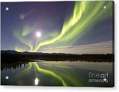 Aurora Borealis And Full Moon Acrylic Print by Joseph Bradley