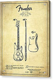 Bass Guitar Patent Drawing From 1960 Acrylic Print