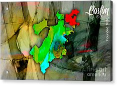 Boston Map Watercolor Acrylic Print by Marvin Blaine