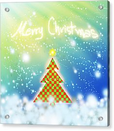 Chess Style Christmas Tree Acrylic Print by Atiketta Sangasaeng