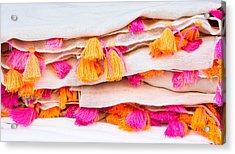 Colorful Textile Acrylic Print by Tom Gowanlock