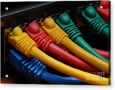 Ethernet Cables Plugged Into Router Acrylic Print
